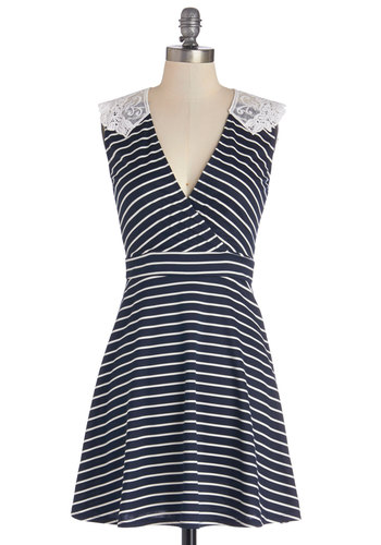 Everlasting Loveliness Dress in Stripes - Mid-length, Sheer, Knit, Blue, White, Stripes, Lace, Casual, A-line, Sleeveless, Good, Variation, V Neck, Show On Featured Sale