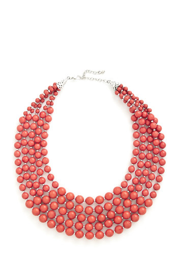 You Bijou Necklace in Strawberry - Coral, Solid, Beads, Tiered, Statement, Good, Orange, Social Placements, Silver