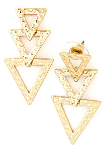 Time to Get Down Earrings - Solid, Tiered, Festival, Gold, Good, 80s