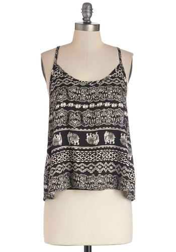 Follow Me to the Fest Top - Black, Sleeveless, Woven, Mid-length, Tan / Cream, Black, Print with Animals, Casual, Boho, Vintage Inspired, 70s, Festival, Spaghetti Straps, Spring, Summer, Good, Critters, Novelty Print