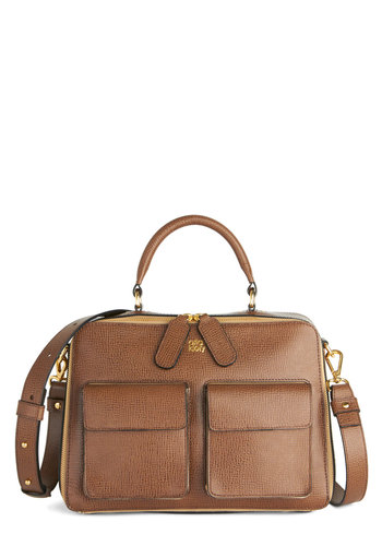Café Diem Bag by Orla Kiely - Brown, Solid, Pockets, Work, Scholastic/Collegiate, Best, International Designer, Leather, Brown
