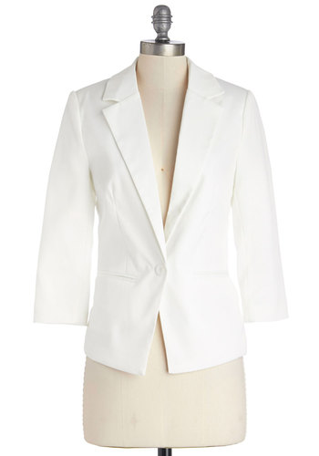 Dapper Date Blazer in White - Short, Woven, White, Solid, Pockets, Party, Work, Daytime Party, Minimal, 3/4 Sleeve, 1, Spring, Summer, Social Placements