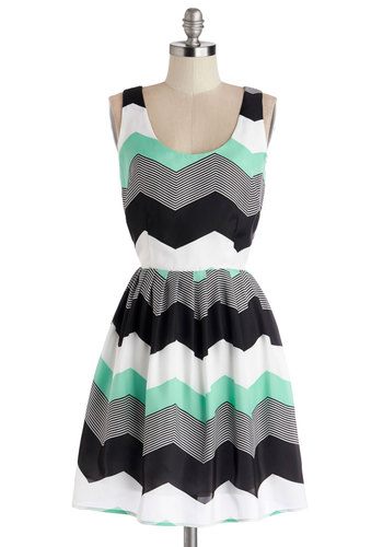 Chillin' in Chi-Town Dress in Mint by Jack by BB Dakota - Black, Grey, White, Mint, Chevron, Casual, A-line, Tank top (2 thick straps), Exclusives, Scoop, Variation, Woven, Multi