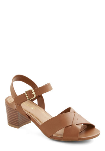 Enjoy Every Minute Sandal - Mid, Faux Leather, Solid, Casual, Daytime Party, Spring, Summer, Good, Chunky heel, Brown