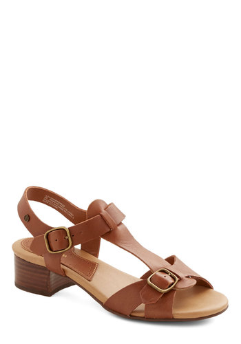 Spring Bake Sale Sandal by Bass - Low, Leather, Tan, Solid, Buckles, Casual, Boho, Spring, Summer, Better, Chunky heel, Beach/Resort, Festival, T-Strap