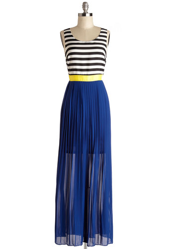 Stylish Strata Dress - Stripes, Casual, Maxi, Twofer, Sleeveless, Good, Scoop, Long, Chiffon, Sheer, Woven, Multi, Yellow, Blue, Black, White, Pleats, Summer