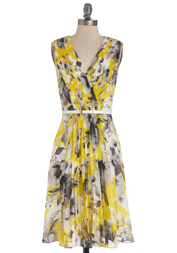 She's Something Else Dress - Yellow, Grey, Floral, Pleats, Belted, Daytime Party, A-line, Sleeveless, Better, V Neck, Chiffon, Woven, Long, Wedding, Bridesmaid, Spring