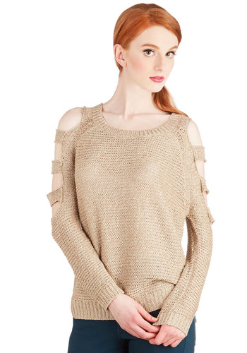 Ballast Breakfast Sweater - Mid-length, Knit, Tan, Solid, Cutout, Casual, Long Sleeve, Brown, Long Sleeve