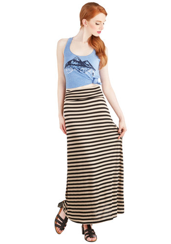 Guitars and Stripes Skirt - Stripes, Casual, Good, Long, Jersey, Knit, Maxi, Festival, Tan, Beach/Resort, Nautical, Spring, Summer, Brown