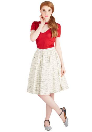 On a Barrel Roll Skirt in Fanfare by Bea & Dot - Long, Cotton, Woven, Novelty Print, Pockets, Casual, Music, Exclusives, Variation, White, White, Press Placement, Quirky, High Waist, Full, Spring, Better