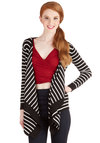 Drape Cod Cardigan - Mid-length, Knit, Black, White, Stripes, Casual, Black, Long Sleeve