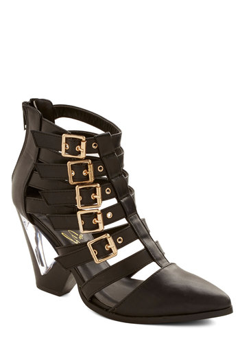 Lucite Up My Life Heel - Black, Buckles, Statement, Best, Mid, Faux Leather, Party, Girls Night Out, Luxe, Urban, Strappy, Solid