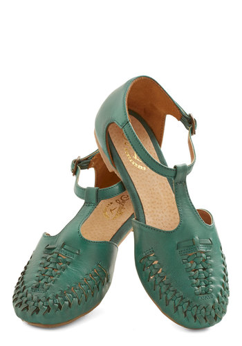 Cayenne Sandal in Jade by Seychelles - Leather, Flat, Green, Solid, Braided, Casual, Boho, T-Strap, Variation, Festival, Summer, Americana
