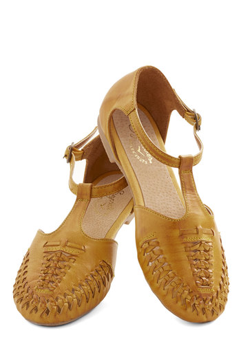Cayenne Sandal in Mustard by Seychelles - Flat, Leather, Yellow, Solid, Braided, Casual, Boho, Better, T-Strap, Variation, Vintage Inspired, 70s, Festival