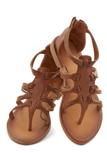 Ready for Action Sandal in Whiskey by Seychelles - Low, Leather, Solid, Casual, Beach/Resort, Boho, Festival, Summer, Better, Strappy, Brown