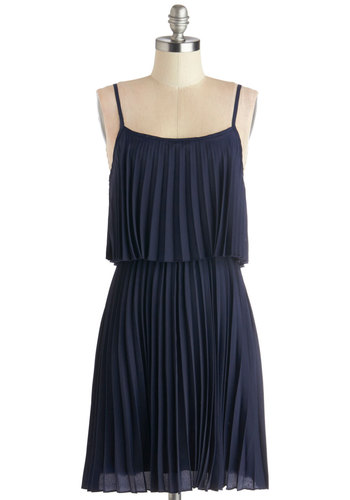 Clock Strikes Farewell Dress - Blue, Solid, Pleats, Party, A-line, Spaghetti Straps, Good, Scoop, Mid-length, Woven, Vintage Inspired, 20s