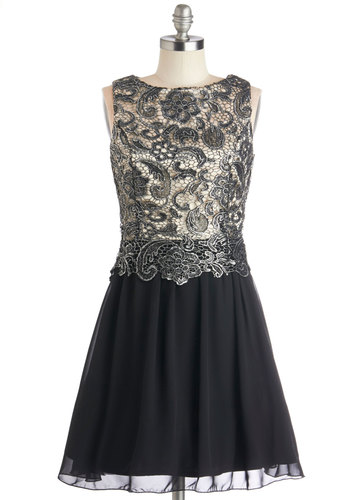 Ore Achiever Dress - Prom, Chiffon, Woven, Lace, Mid-length, Black, Silver, Crochet, Special Occasion, A-line, Sleeveless, Better, Homecoming