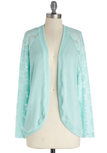 Lacy Day Off Cardigan in Aqua - Blue, Long Sleeve, Knit, Mid-length, Sheer, Blue, Solid, Lace, Long Sleeve, Variation, Pastel