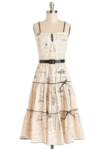 Make it Needlework Dress - Cream, Black, Print, Belted, Casual, A-line, Spaghetti Straps, Better, Long, Cotton, Woven, Bows