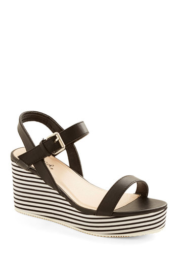 Posh Poolside Wedge - Black, White, Stripes, Good, Platform, Wedge, Mid, Faux Leather, Woven, Casual, Summer
