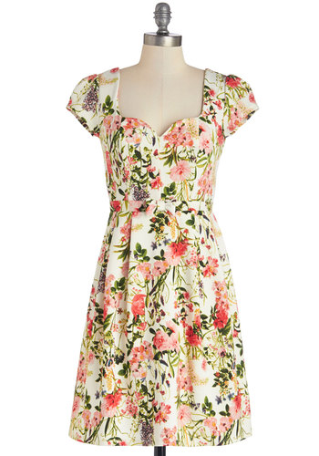 Language of Lovely Dress - Knit, Mid-length, Floral, A-line, Cap Sleeves, Good, Multi, Daytime Party, Spring