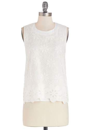 Delighting in Details Top - Mid-length, Woven, Lace, White, Work, Daytime Party, Sleeveless, Spring, Summer, White, Sleeveless, Solid, Eyelet