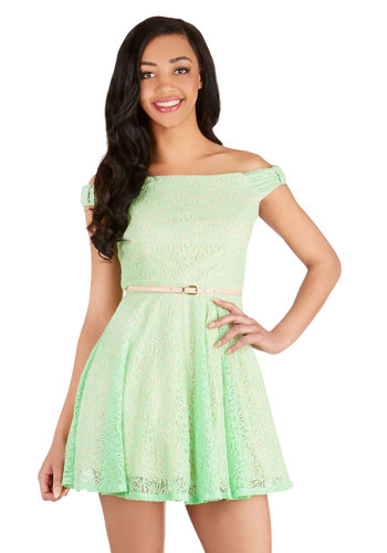 A Whole New Whirl Dress - Green, Lace, Belted, Special Occasion, Prom, Off the Shoulder, Fit & Flare, Better, Woven, Lace, Spring, Pastel, Mint