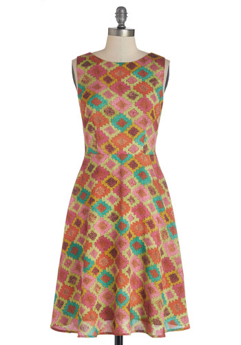 Saturday Night Thrive Dress in Diamonds - Multi, Print, Party, A-line, Sleeveless, Better, Boat, Orange, Yellow, Green, Pink, Chiffon, Woven, Pockets, Exclusives, Variation, Full-Size Run, Long
