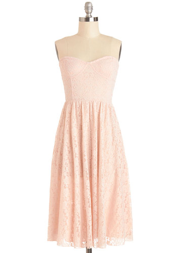 Sunrise Swoon Dress by Motel - Knit, Pink, Solid, Lace, Special Occasion, Wedding, Graduation, Bridesmaid, A-line, Strapless, Better, Sweetheart, Pastel, Press Placement, Long