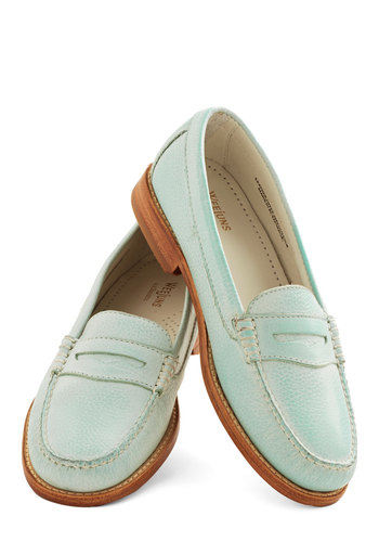 Loafer and Over Flat in Spearmint by Bass - Mid, Leather, Mint, Tan / Cream, Solid, Work, Daytime Party, Menswear Inspired, Best, Variation, Pastel