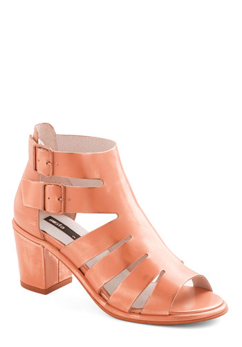 Wonderful Weeknight Heel - Mid, Leather, Solid, Cutout, Daytime Party, Best, Chunky heel, Vintage Inspired, 90s, Coral