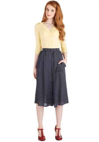 Just Dandy Skirt in Navy Dots - Long, Blue, Polka Dots, Casual, Pockets, Tis the Season Sale, Variation, Basic, Fall, Urban, Midi, Blue