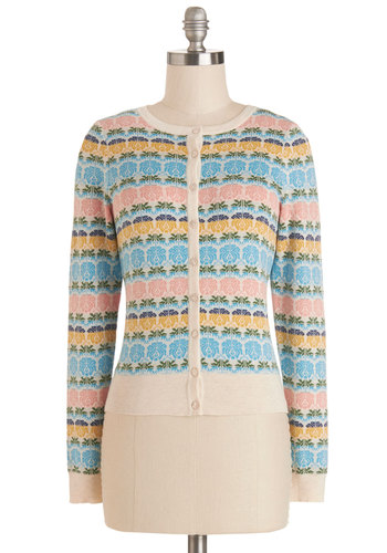Thrilled to Be Here Cardigan - Cotton, Knit, Short, Multi, Floral, Work, Long Sleeve, Pastel, Spring, Multi, Long Sleeve