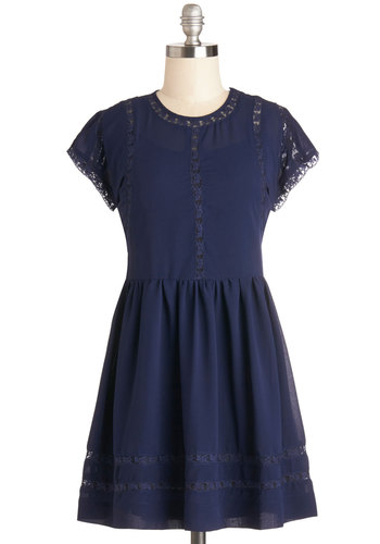 Behind the Candy Counter Dress - Blue, Solid, Lace, Casual, A-line, Better, Scoop, Sheer, Woven, Short, Cap Sleeves