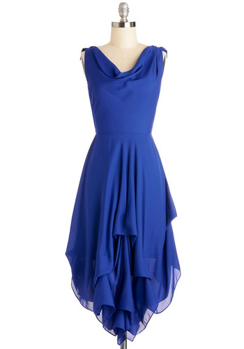 Wrapped Up in Drama Dress - Woven, Mid-length, Blue, Solid, Ruffles, Special Occasion, Party, A-line, Sleeveless, Better, Cowl, Backless, Tiered, Wedding
