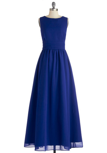 Dream Evening Dress in Sapphire - Wedding, Bridesmaid, Chiffon, Woven, Long, Blue, Solid, Special Occasion, Prom, Maxi, Sleeveless, Better, Exclusives, Full-Size Run, Homecoming, Private Label