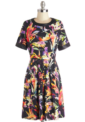 Island Gallery Dress - Mid-length, Faux Leather, Knit, Floral, A-line, Short Sleeves, Better, Scoop, Multi, Black, Party, Beach/Resort