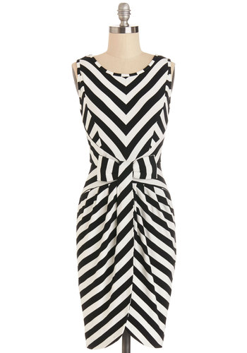 In-Demand Planner Dress - Black, Stripes, Bows, Shift, Sleeveless, Better, Scoop, White, Knit, Party, Mid-length, Daytime Party