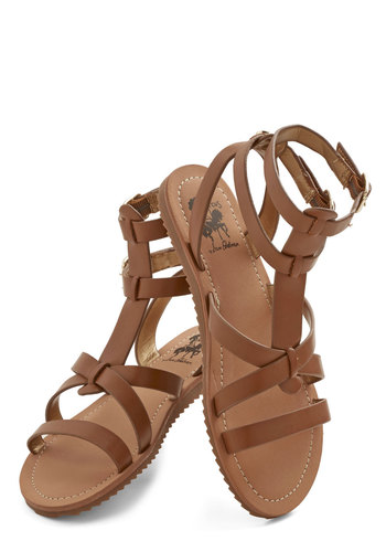 Glimmer is Served Sandal in Caramel - Flat, Faux Leather, Tan, Solid, Boho, Summer, Better, Strappy, Variation, Beach/Resort, Festival