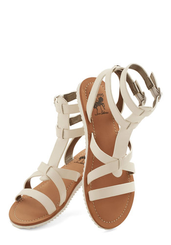 Glimmer is Served Sandal in White - Flat, Faux Leather, Solid, Boho, Summer, Better, Strappy, Variation, Beach/Resort, Festival, White