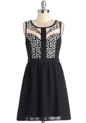 Blushed a Move Dress - Short, Black, Tan / Cream, Lace, Party, A-line, Sleeveless, Better, Scoop, Pink
