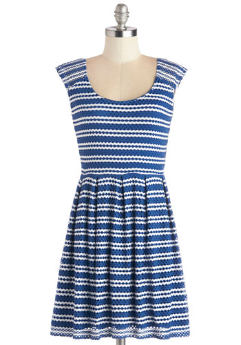 American Cutie Dress - Blue, White, Stripes, Eyelet, Casual, A-line, Sleeveless, Better, Scoop, Short, Sheer, Knit, Nautical, Americana