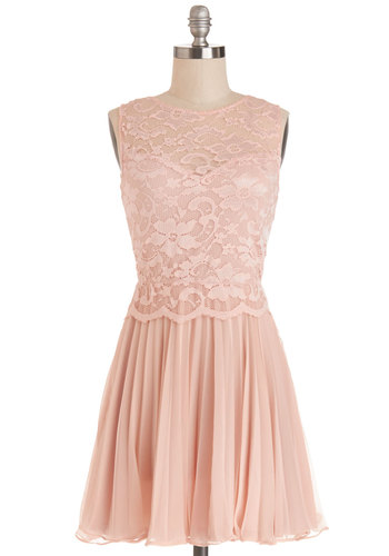 Plié for Keeps Dress - Woven, Short, Pink, Solid, Backless, Exposed zipper, Lace, Pleats, Special Occasion, A-line, Sleeveless, Good, Sheer, Lace, Pastel