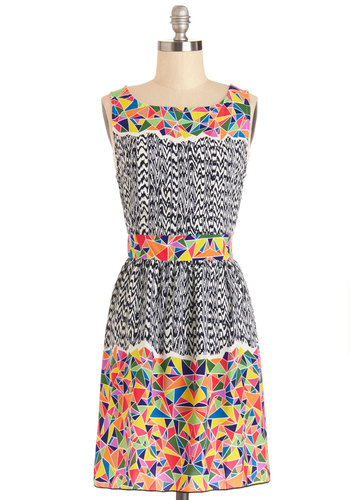 Partial to Prints Dress - Mid-length, Woven, Multi, Print, Casual, A-line, Good, Sleeveless, Vintage Inspired, 90s