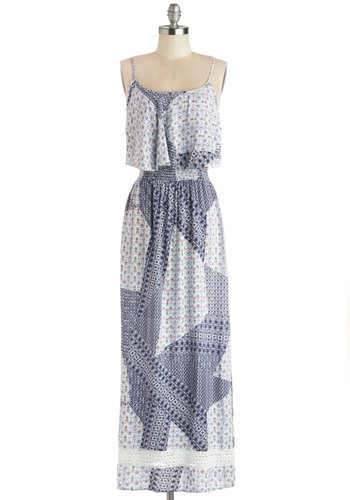 Woo Me with Whimsy Dress - Long, Woven, Blue, White, Print, Ruffles, Casual, Maxi, Spaghetti Straps, Better, Scoop, Multi, Boho, Vintage Inspired, 70s, Festival