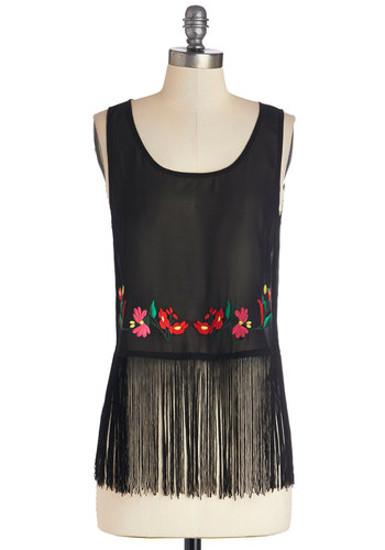 Pardon My Fringe Top - Black, Sleeveless, Sheer, Woven, Mid-length, Chiffon, Black, Solid, Embroidery, Fringed, Boho, Vintage Inspired, 70s, Sleeveless, Spring, Summer, Festival, Scoop, Good
