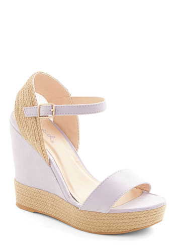 Pretty Little Lilacs Wedge - Purple, Tan / Cream, Solid, Daytime Party, Beach/Resort, Spring, Summer, Good, Platform, Wedge, Espadrille, High, Woven, Pastel