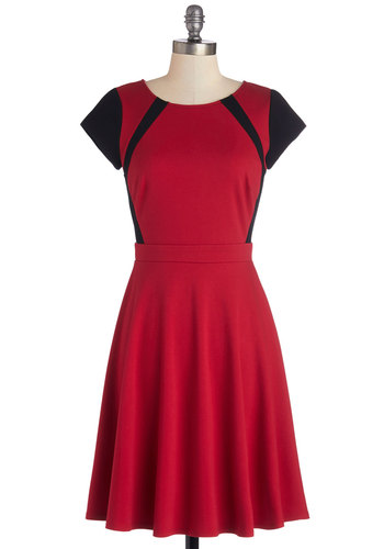The Best for Contrast Dress - Knit, Mid-length, Red, Black, Casual, A-line, Short Sleeves, Good, Scoop, Work, Top Rated