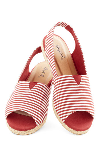 Carnival in All Flat - Red, White, Stripes, Beach/Resort, Nautical, Summer, Good, Espadrille, Peep Toe, Slingback, Low, Woven