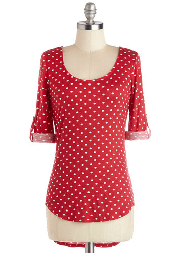 Know Your Neighbors Top in Polka Dots - Knit, Long, Red, Polka Dots, Rockabilly, High-Low Hem, 3/4 Sleeve, Scoop, Red, Tab Sleeve, White, Casual